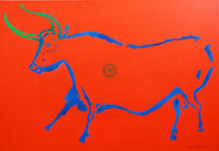 Cow-from-Lascaux-28version-II29-70x100-cm2C-acrylic-and-spray-on-canvas.jpg